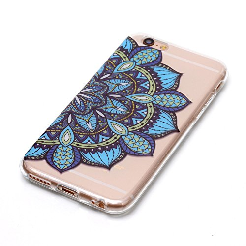 Coque iphone 6/6s, Coque iphone 6/6s Transparente, Cozy Hut Housse Etui TPU Silicone Clear Clair Transparente Gel Slim Case pour iphone 6/6s Soft de Protection Cas Bumper Cover Converture Anti Poussiè Bleu demi-fleur