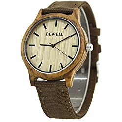 Bewell Zebra Wood Bezel Watch Brown Canvas Strap Causal Style Cheap Price Watch