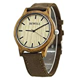 Bewel W134A Natural Wooden Watches Japan Quartz Movement Wood Bezel Watch with Canvas Strap Watch for Men and Women(Brown Strap)