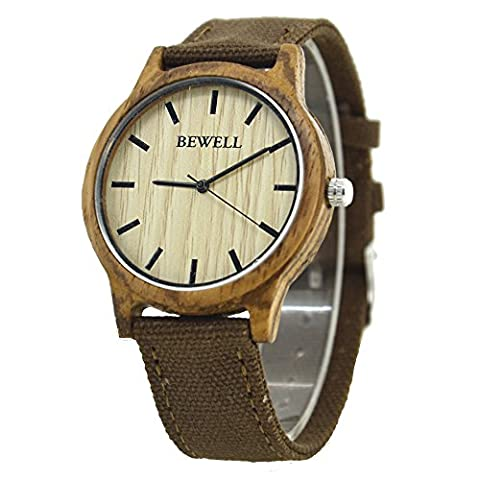 Bewel W134A Natural Wooden Watches Japan Quartz Movement Wood Bezel Watch with Canvas Strap Watch for Men and Women(Brown