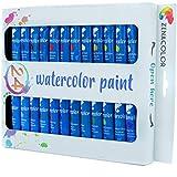 Ensemble de 24 tubes de peinture aquarelle par Zenacolor - Pack de 24 x 12mL - Peinture de qualité supérieure et non toxique - 24 Couleurs uniques et différentes - Idéal pour débutant ou professionnel - Pigments riches et sèche rapide - Facile à peindre sur canvas, toile, papier ou carton