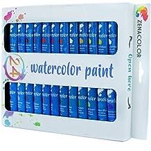 24 Tubos de Pintura de Acuarela de Zenacolor - Pintura de agua de Calidad Superior, Pigmentos no Tóxicos, de Pigmentación Concentrada para Colores Vívidos y Secado Rápido - 24 x 12 mL