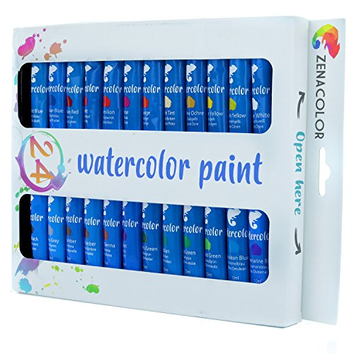 Zenacolor Set mit 24 Aquarellfarben 24 Tuben x 12 ml - Besonders hochwertige und Nicht-toxische Wasserfarben - Reich an Farbpigmenten und schnelltrocknend - Leinwänden, Tuch, Papier oder Karton