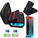 Jusoney Case for Nintendo Switch Updated Nintendo Switch Accessories with 20 Game Cartridges,Foldable Nintendo Switchs Stand Holder, with 2PCS Tempered Glass Screen Protector