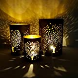 Sankh Set Of 3 Tree Design Hurricane Metal TeaLight Candle Holder For Room Decorations, Any Festival And Diwali Occasion-CDH-G3 (3 Pc Set)