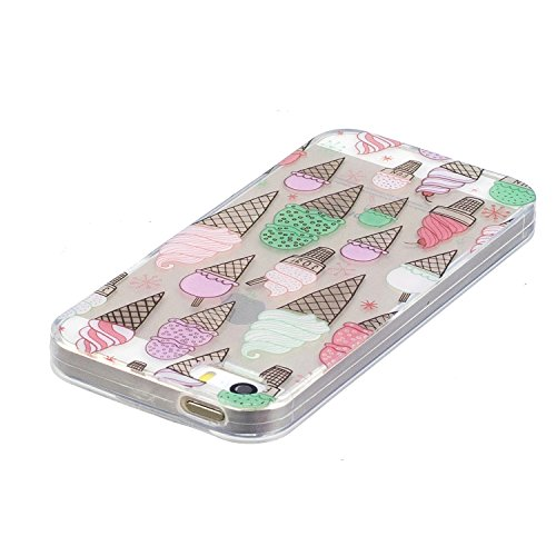 iPhone 5S / iPhone SE Hülle, Voguecase Silikon Schutzhülle / Case / Cover / Hülle / TPU Gel Skin für Apple iPhone 5 5G 5S SE(Ice Cream 03) + Gratis Universal Eingabestift Ice Cream 03