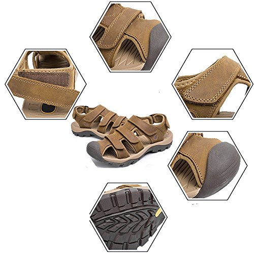 Zhuhaitf Casual Mens Soft Shoes Synthetic Leather Sandals Outdoor Closed-Toe Shoes brown