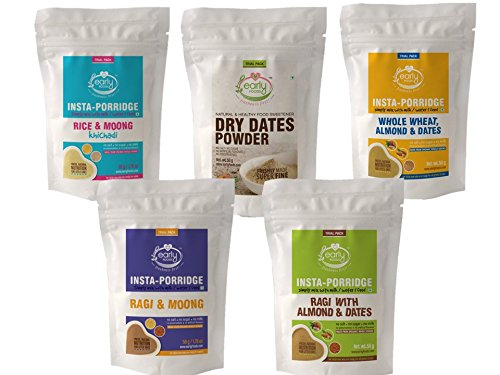 Early Foods – Combo 5 Travel Trial Packs – Organic Instant Porridge Mixes & Dry Dates Powder for Little Ones – 50g Each