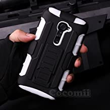 LG G2 Funda, Cocomii Robot Armor NEW [Heavy Duty] Premium Belt Clip Holster Kickstand Shockproof Hard Bumper Shell [Military Defender] Full Body Dual Layer Rugged Cover Case Carcasa (White)