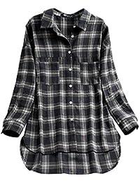 85508cf214aa OverDose Damen Herbst Freizeit Stil Frauen Baumwolle Solid Langarm-Shirt  beiläufige lose Bluse Beach Party