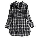 OverDose Damen Casual Übergröße Unregelmäßige Mode Lose Leinen Kurzarm Shirt Vintage Bluse Fest Hemd Lang Tank Tops T-Shirt Freizeit Oberteile Tees
