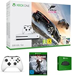 Xbox One S 500GB Konsole - Forza Horizon 3 Bundle + Rise of the Tomb Raider + zwei Xbox Wireless Controller Weiß + Xbox One Chatpad QWERTZ