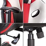 TecTake Fauteuil de Bureau Design Gaming Sportif, Chaise de Bureau Réglable Pivotante 360° Rembourré Confort (Blanc Rouge Noir | n° 402903-3)