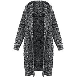 Vogstyle Femme Manteau Cardigan Tricot Lourd Pull ouvert à Capuche Gilet manches longues Chaud Avec Poches Style 2 Gris XXL
