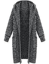 4b654a93577d Vogstyle Femme Manteau Cardigan Tricot Lourd Pull Ouvert à Capuche Gilet  Manches Longues Chaud avec Poches