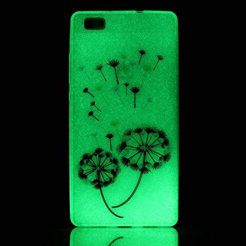 CaseHome Huawei P8 Lite Luminous Hülle (Mit Frie Displayschutzfolie) Leuchtende Silikone Rückhülle Für iPhone 6 6s Plus 5.5 Zoll Zoll Silikon Etui Handy Hülle Weiche Transparente Luminous TPU Back Cas Bunte Löwenzahn