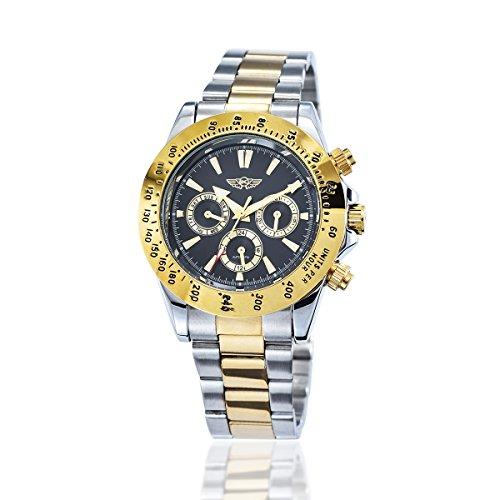 YAKI Elegante classica orologio automatico da uomo automatico meccanico polso oro 1341-Y