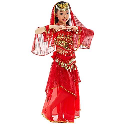 Hanerdun Kinder Elegante Bauchtanz Anzug 4 Stück Halloween Kostüme Set