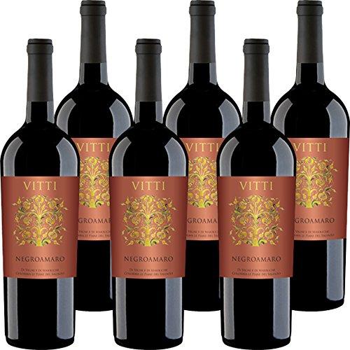 Vitti Negroamaro del Salento IGP | Vino Rosso Salentino | Confezione da 6 Bottiglie da 75 Cl | Il Vino della Puglia | Idea Regalo