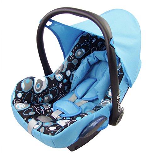 BAMBINIWELT Ersatzbezug für Maxi-Cosi CabrioFix 6-tlg, Bezug für Babyschale, Komplett-Set HELLBLAU + SCHWARZE BLASEN *NEU*