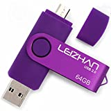 LEIZHAN USB-Stick 2.0 64G OTG (on The Go) Dual Port (USB 2.0 und Micro USB) Swivel USB Memory Stick Flash-Laufwerk Externe Pendrive für Android Smartphone Tablet & PC Lila