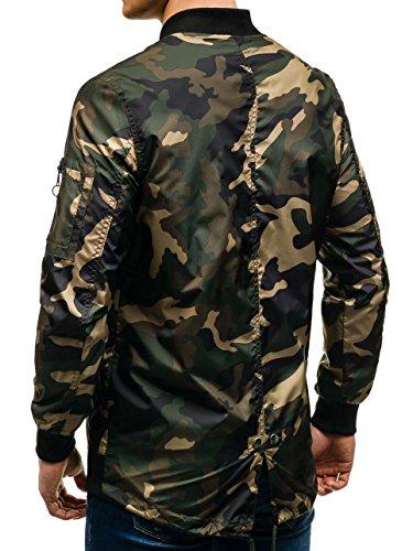 BOLF Herren Bomberjacke Sweatjacke Übergangsjacke Camo Military Military 4D4 Motiv Grün