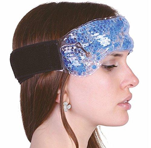 Migräneband mit Klettverschluss - Migränekompresse Gel-Perlen Linderung bei Kopfschmerzen Migräne Erkältung Nasenblutung wie Kühlkissen für Nacken Stirnband Gelkompresse wiederverwendbar (Kalten Kopf Maske)