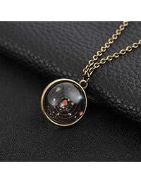 Collar de Mujer WJsbxx Nebulosa De La Galaxia Collar Luminoso De Doble Cara Bola De Cristal