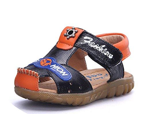 Ohmais Enfants Chaussure bebe garcon premier pas Chaussure premier pas bébé sandale en cuir souple noir orange