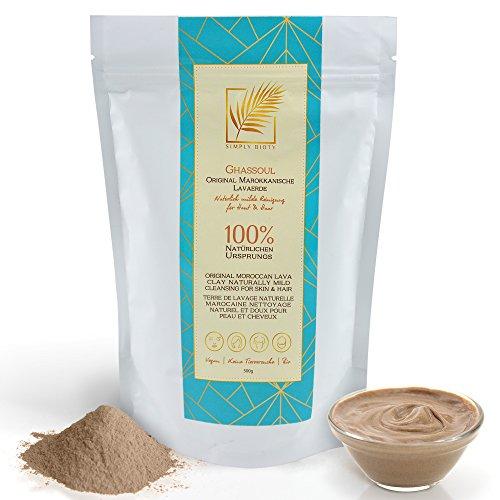 Simply Bioty - Ghassoul original marokkanische Lavaerde Pulver - Bio Gesichtsmaske & Haarwäsche - Mineralische Tonerde - Natürliches Peeling - Vegan