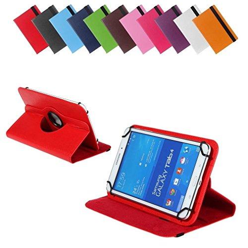 BRALEXX Universal 360° Tablet Tasche passend für Blaupunkt Polaris 808, 7 Zoll, Rot
