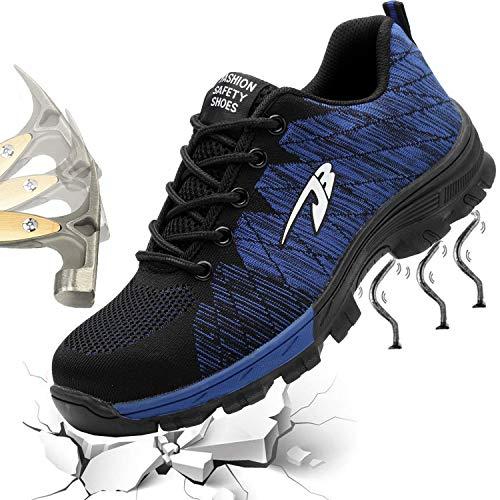 Gainow Damen Herren Arbeitsschuhe Stahlkappe Sicherheitsschuhe Sportlich 200J Leicht Stahlkappe Atmungsaktiv Schutzschuhe Trekking Wanderhalbschuhe Hiking Schuhe Traillaufschuhe (42 EU, Blau 02)