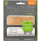 U Brands Gruv Magnetic Bulletin Bar and Key Hook, White, 1.5 x 4.25 Inches Each