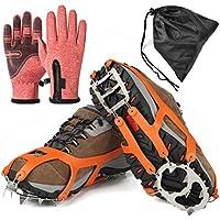 Agarres de Hielo para Zapatos y Botas, 18 Dientes de Acero Inoxidable Crampons, Dispositivo de tracción de Invierno para Escalada, Pesca, Caza, Trotar, Caminar sobre Nieve Helada, Medium