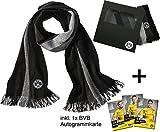 BVB Borussia Dortmund Schal Saison 2017/2018 - BVB Streifenschal - BVB Fanschal inkl. Geschenkverpackung & BVB Autogrammkarte