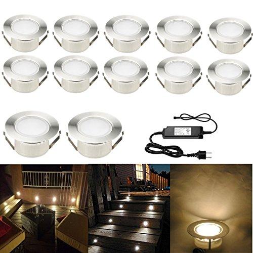 SUBOSI FVTLED 12er Set Ø61mm LED Bodenstrahler Bodeneinbauleuchten Boden Licht IP67 DC12V Wasserdicht Einbauleuchten Außen Terrasse Küche Garten Lampe (Einbauleuchten Boden-licht)