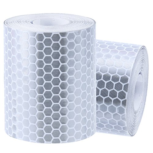 Rovtop Reflektorband Klebeband für Sicherheit Warnklebeband Sicherheit Markierung Band Silberweiß 2 Rolle 5*300cm -