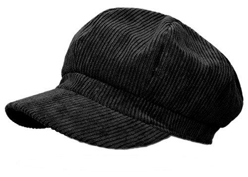 Mode Mütze Schwarz Damen (Schirmmütze Damen Ballonmütze Cord Kappe Damen Mütze mit Schirm Damenhut - BM110 (BM111-Schwarz))
