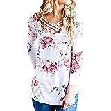 MORCHAN❤Femmes Dames Automne Hiver élégant Slim Floral Impression Creux T-Shirt À Manches Longues Tops Robe Blouse️(FR-40 / CN-M,Blanc)