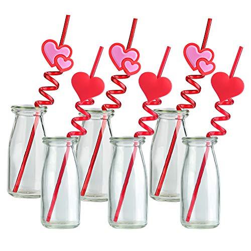TUPARKA 24 STÜCKE Valentine Straws Crazy Loop Straws Rotes Herz Crazy Straws Valentine Party-Trinkhalme mit Herzen für die Party-Party-Party des Valentinstags
