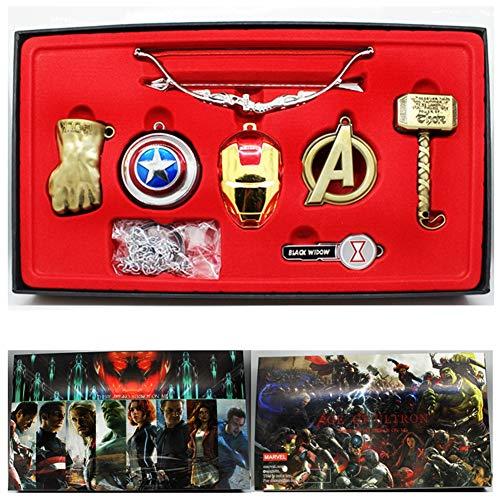 YinXX The Avengers League Serie Halskette, Legierungsmaterial Super High Gedenken Bedeutung Sieben Sätze Set Anhänger Halskette Kombinationsanzug, Mit Schlüsselanhänger/Gold-Version -