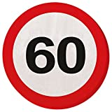 Creative Traffic Lot de 20 Serviettes de Table pour fête de 60e Anniversaire Motif Panneau de signalisation