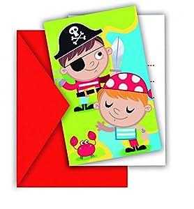 Procos - Invitaciones en sobre Pirates Treasure Hunt, 6 unidades, multicolor, PR88255