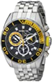 Invicta Men's Quartz Watch with Black Dial Chronograph Display and Silver Stainless Steel Bracelet