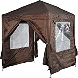 Outsunny 2m x 2m Garden Heavy Duty Pop Up Gazebo Marquee Party Tent Wedding Awning Canopy New With free Carrying Case Coffee + Removable 2 Walls 2 Windows