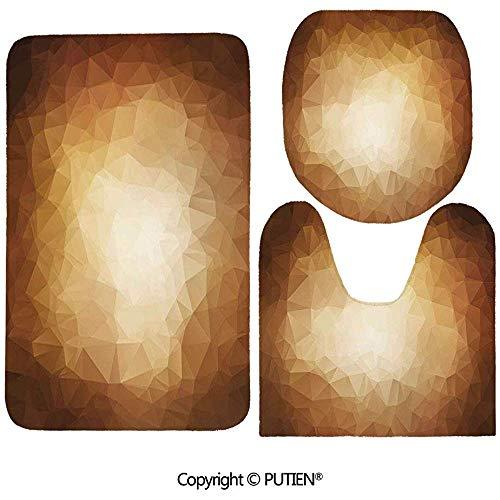 Octavia Ralph 3-teiliges Teppichset/Hellbraun, Abstrakte Dreiecke in Mosaikform Moderne geometrische künstlerische Retro-Grafik, Braun Hellbraun/Badvorleger