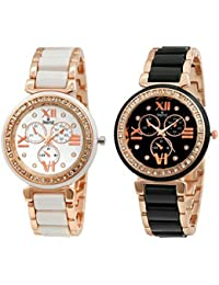 Fashion Now Black And White Diamond Studded Women Analog Watch - Women Watch