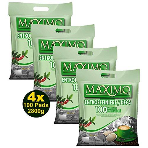 MAXIMO ENTKOFFEINIERT Kaffeepads 4x 100 Pads 700g (2800g) - Aromatisch, Entkoffeiniert