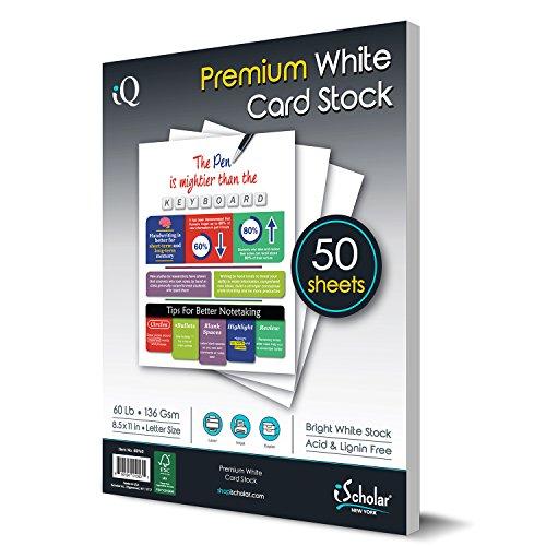 IQ Premium weiß Karte Papier, Laser- und Inkjet kompatibel, 21,6x 27,9cm, 60Lb, 36GSM, 50Blatt (80960) - Papier 60 Lb