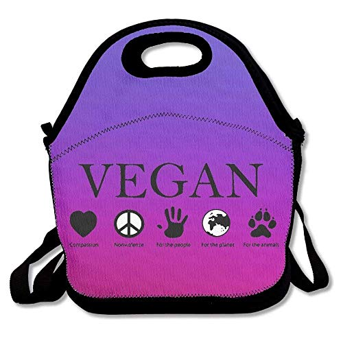Fgrygf Animal Rights Vegan Vegetarian Purple Super Lunchpakets Insulated Travel Picnic Lunchbox Tote Handbag with Shoulder Strap Adults -